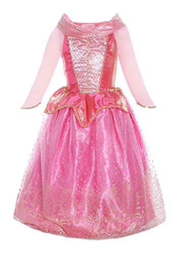 ReliBeauty Girls Princess Aurora Dress Costume (3T, (Disney Princess Pink Dress)
