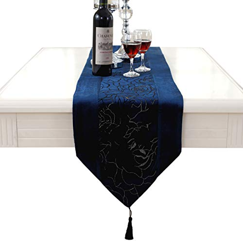 Morden Blue Flower Embroidered Blue Velvet Table Runners Tapestry 72 inch Approx for Party and ()