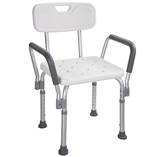 - AW Medical Bath Shower Seat Adjustable Height Bathtub Bench Chair Stool w/Armrest Back For Safety Support 220lbs