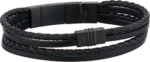 (Fossil Men's Multi-Strand Black Leather Bracelet)