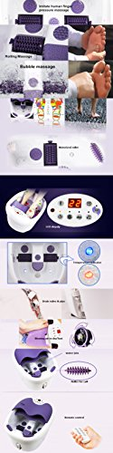 All in one foot spa bath massager w/ motorized rolling massage, heat, wave, O2 bubbles, water fall, digital temperature control LED display FBD1023 by Kendal (Image #2)