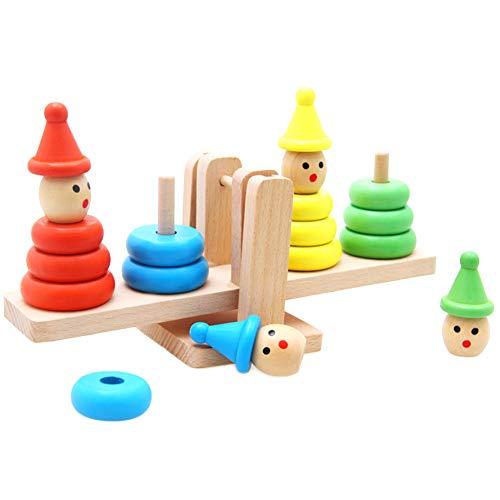 CHoppyWAVE Geometric Stacker - Wooden Educational Toy,Baby Wooden Toy Cartoon Clown Montessori Educational Building Blocks Balance Game