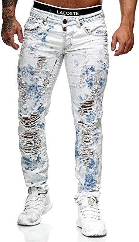 Code47 Dżinsy Denim Destroyed Slim Fit Used Design męskie: Odzież