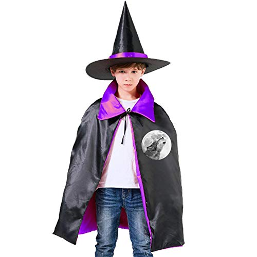 Kids Wolf Moon Halloween Costume Cloak for Children Girls Boys Cloak and Witch Wizard Hat for Boys Girls Purple