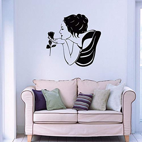Pbldb 42X44Cm Beautiful Woman with Rose Wall Decals