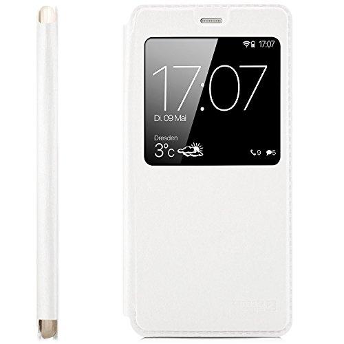 Funda Huawei P10 Lite (WAS-LX1A) Cover Flip Wallet [zanasta Designs] Case Cubierta de la ventana de la alta calidad, protección de la cámara |Negro Blanco