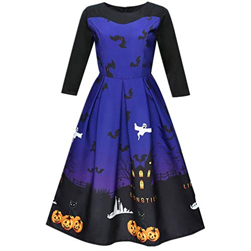 TWGONE Women Dresses Halloween Printing Three Quarter Casual Evening Party Prom Swing Dress Polyester Costume(US-8/CN-2XL,Blue)