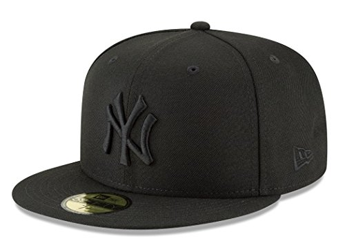 New Era 59Fifty Hat MLB Basic New York Yankees Black/Black Fitted Baseball Cap (7 3/8) ()