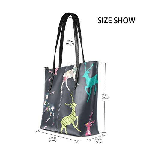 Totes Women's Shoulder PU Christmas Handle Fashion Bags Handbag Top Purses TIZORAX Leather Deer xRSWnW4Z