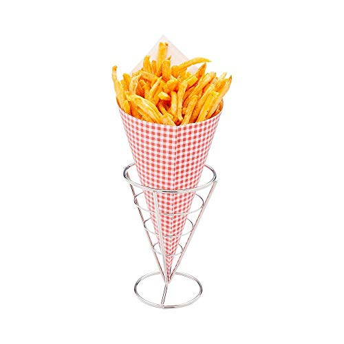 ALDKitchen French Fry Stand Cone Basket French Fry Chips Cone Metal Wire Basket for Home Parties/Backyard Picnics/Outdoor Events/Appetizers (2 PCS)