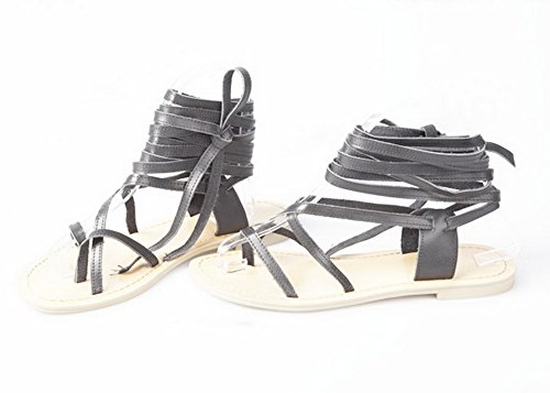 1TO9 Womens Lace-Up Retro Roman New Trend Cow Leather Sandals Black Og1DXOWkKp