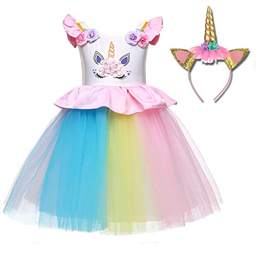 Freeprance Unicorn Costume Unicorn Party Dresses Princess Costumes for Girls 03_XPK_80