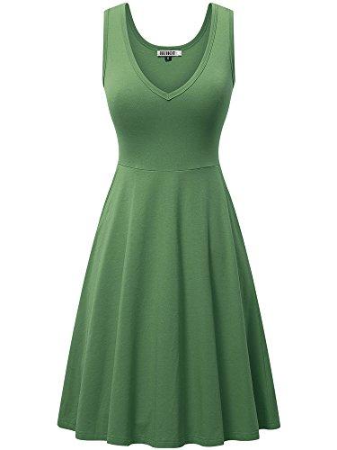- HUHOT T-Shirt Dress for Juniors Tank Dress A-line Glass Mint Dresses Sexy Flowy Dress(Light Green,XX-Large)