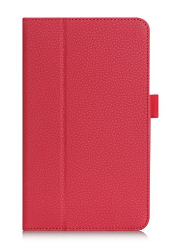 FYY Case for Galaxy Tab E 8.0 - Premium PU Leather Case Stand Cover with Card Slots, Note Holder, Elastic Strap for Samsung Galaxy Tab E 8.0 4G LTE SM-T377 Tablet Red