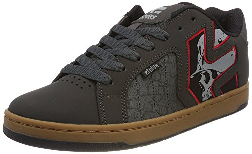 Etnies Metal Mulisha Fader 2 Grau Rot Herren Leder Trainers Schuhe