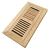 floor register vent white - Homewell White Oak Wood Floor Register, Flush Mount Vent with Damper, 4x10 Inch, Unfinished