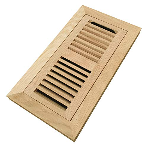 (Homewell White Oak Wood Floor Register, Flush Mount Vent with Damper, 4x10 Inch, Unfinished)