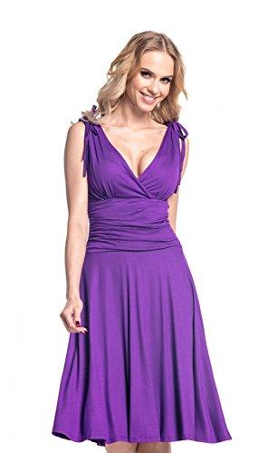 Glamour Empire Women's Wrap Deep V-Neckline Jersey Summer Skater Dress. 142 (Purple, US 10, - Summer Jersey