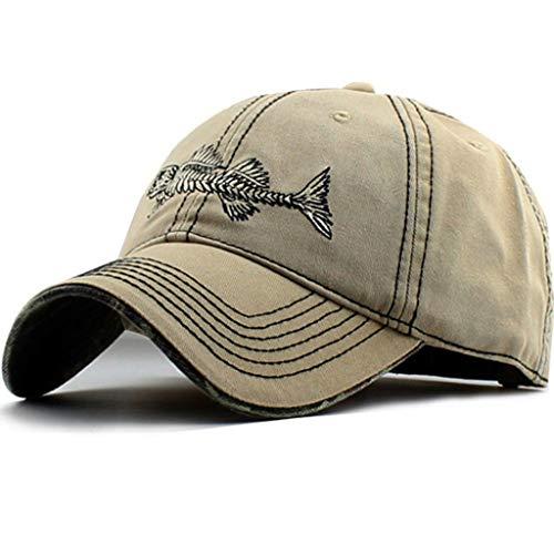 AKIZON Fishing Mens Hats - Baseball Cap Fishing Hat Cotton - Mens Adjustable Cap, Beige