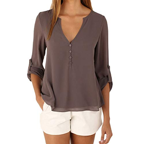 Women Tops and Blouse Long Sleeve V-Neck Chiffon Blouse for sale  Delivered anywhere in USA