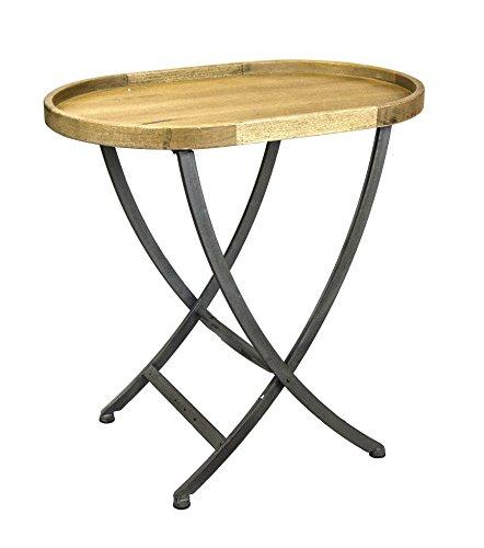 Sagebrook Home 11540 Oval Wood & Metal Side Table, Natural Metal/Wood, 31.5 x 20.75 x 30.5 Inches (Natural Oval Table Wood)