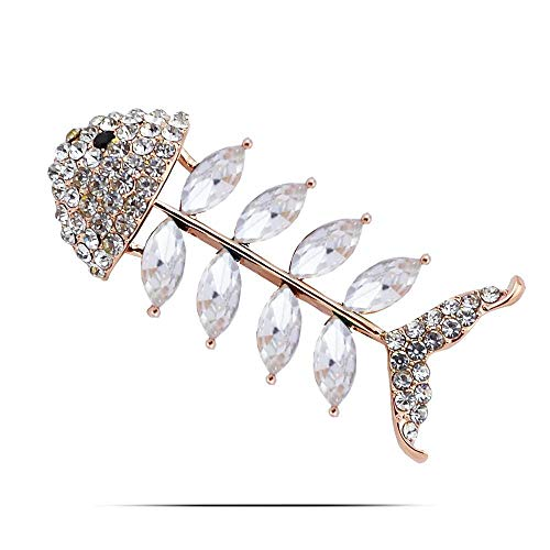 TtKj Brooch Pin for Women,Brooches for Women Diamond Fish Crystal Fish Bone Brooch Lady Brooch Girl Clothing Accessories