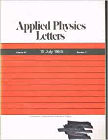 applied physics letters applied physics letters volume 47 number 2 15 july 1985 2345