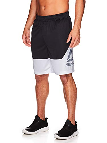 Reebok Men's Drawstring Shorts - Athletic Running & Workout Short w/Pockets - Break Training Black Heather, Large ()