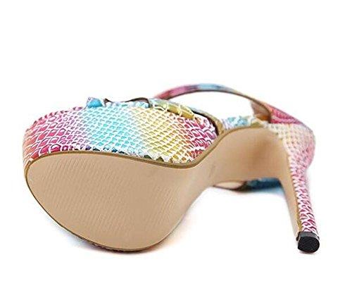xie Chaussures pour femmes Fête club Robe Talon aiguille Plate-forme Des sandales Multicolore Pompes Taille 35 à 39 EU35 FWK9X