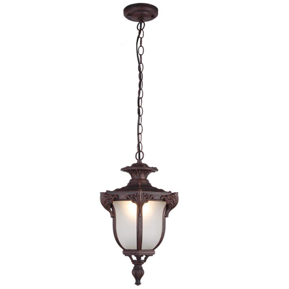 LED屋外防水シャンデリア、アメリカのアンティークアルミガラスシャンデリア天井ランプポストモダンバーガーデンバルコニー装飾ペンダントライト (色 : さび さび, サイズ さいず : 26*41.5cm) B07S22NDTH さび さび 26*41.5cm