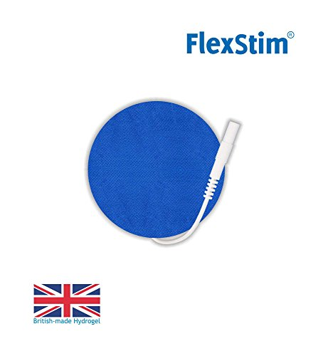 FlexStim 2'' Round TENS/EMS Electrode Pads with Pigtail Connector, Supplied with British Made Premium Hydrogel - Compatible with Most TENS/EMS Units - Flexible Tens Pads - Easy to use. (20) ()