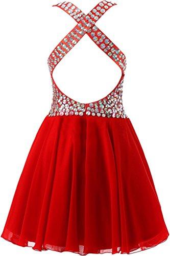 Abendkleid Strass Promkleid Cocktailkleid Ausschnitt Damen Rot Steine Ivydressing A V Linie Sweetheart wvxqFqa0A