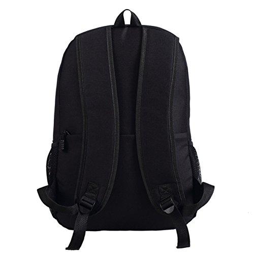 JUSTGOGO Luminous Korean Casual Backpack Daypack Laptop Bag College Bag School Bag (Black) by JUSTGOGO (Image #3)