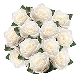DECONEXT Artificial Flowers Fake Roses with Ribbon Boutonnieres, Wrist Corsage Flower Decoration for Gift Packing Wedding Bouquet, Wedding Party Baby Shower Home DIY Pack of 12 2