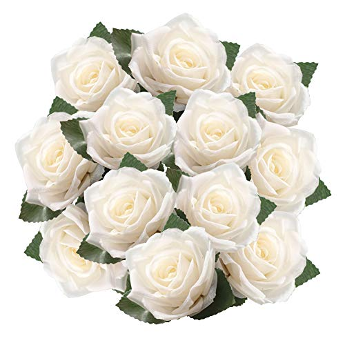 DECONEXT Artificial Flowers Fake Roses with Ribbon Boutonnieres, Wrist Corsage Flower Decoration for Gift Packing Wedding Bouquet, Wedding Party Baby Shower Home DIY Pack of -