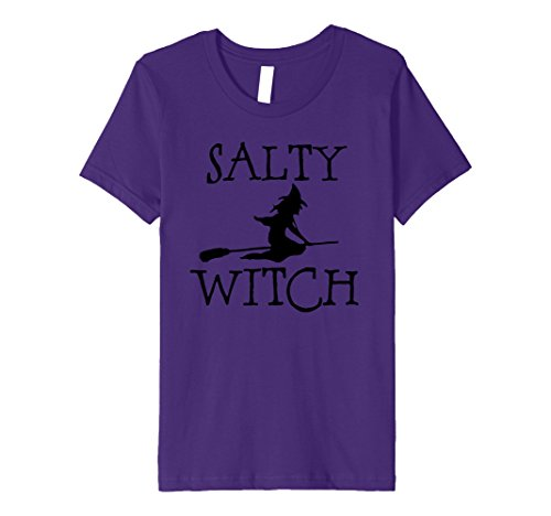 Simple Two Person Costumes (Kids Salty Witch Funny Simple Halloween Costume Broomstick Tee 8 Purple)