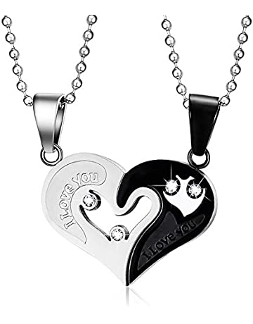 db0180f4089be MMTTAO His   Hers Matching Set Titanium Stainless Steel Couple Pendant  Necklace for Men Women Love