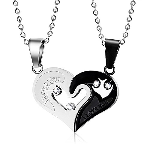 MMTTAO His & Hers Puzzle Heart Matching Set Stainless Steel Couple Pendant Necklace for Men Women Cubic Zircinia CZ Charms Pendant ()