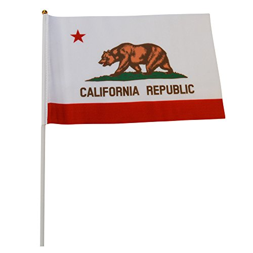 California Polyester State Flags Desk Outside Waving Parade 12-pack Hand or 12 inch x 18 inch Grommet (12-Pack Hand Flag)
