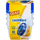 Glad Food Storage Containers, LockWare Extra Small, 9.5 Ounce, 3 Count