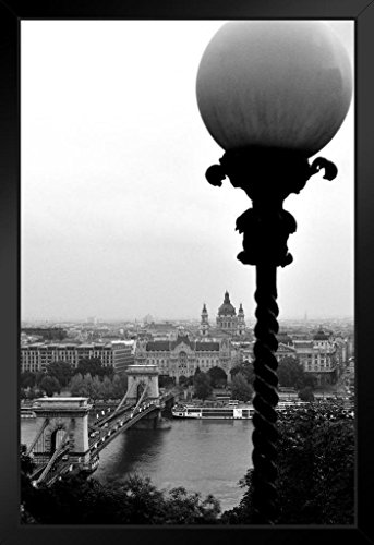 Elevated View of Szchenyi Chain Bridge Over River Danube Budapest Photo Art Print Framed Poster 14x20 inch