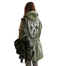 Cozy Age Women's Punk Skull Head Hooded Coat
