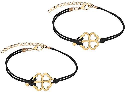 (Penny & Piper Set of 2 Friendship Bracelets, Heart Clover Bracelets with Soft Black Leatherette Cord)
