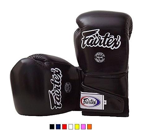 Fairtex Muay Thai Boxing Gloves BGV6 Solid Black 16 oz Training & Sparring Gloves for Kick Boxing MMA (Fairtex Muay Thai Ankle Supports)