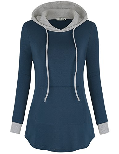 Pullover Hoodies for Women,Finice Juniors Cute Hooded Tops Long Sleeve Kangaroo Drawstring Jersey Tunic Sweatshirt Stretchy Comfy Fall Knits Blue M