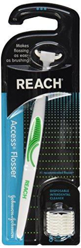 Reach, Access Flosser Starter Pack 8 Disposable Snap-on Heads, 1 ct (Reach Access Flossers)