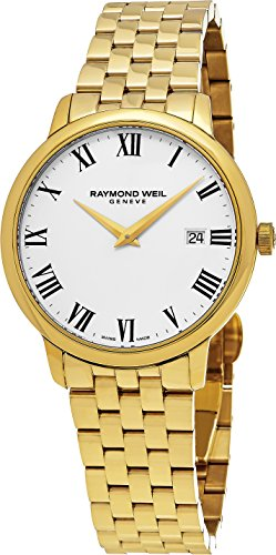 Raymond Weil White Bracelet - Raymond Weil Toccata Mens Thin Stainless Steel Plated Yellow Gold Watch For Men - 39mm Analog White Face with Date and Sapphire Crystal - Swiss Made Quartz Luxury Dress Watches 5488-P-00300