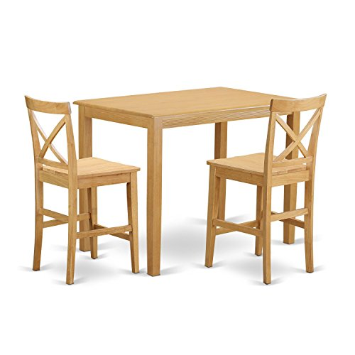 East West Furniture YAPB3-OAK-W 3 Piece Counter Height High Top Table and 2 Chairs Set