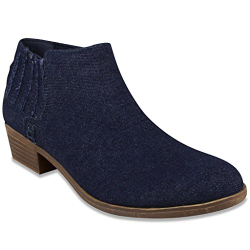 Sugar Faux Ankle TESS Bootie Denim Boot Dark Women's Suede 4qrBw4