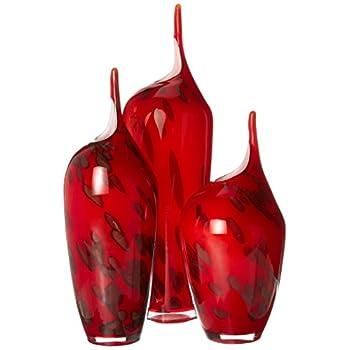 OK Lighting Vibrant Red Glass Vase Set